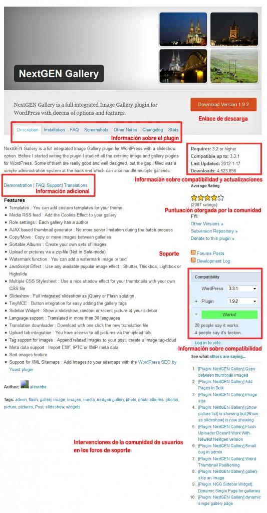 Criterios de selección de plugins para WordPress (ejemplo, NextGEN Gallery)
