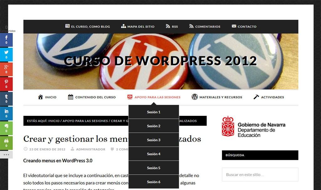 El menú de WordPress, en este sitio web