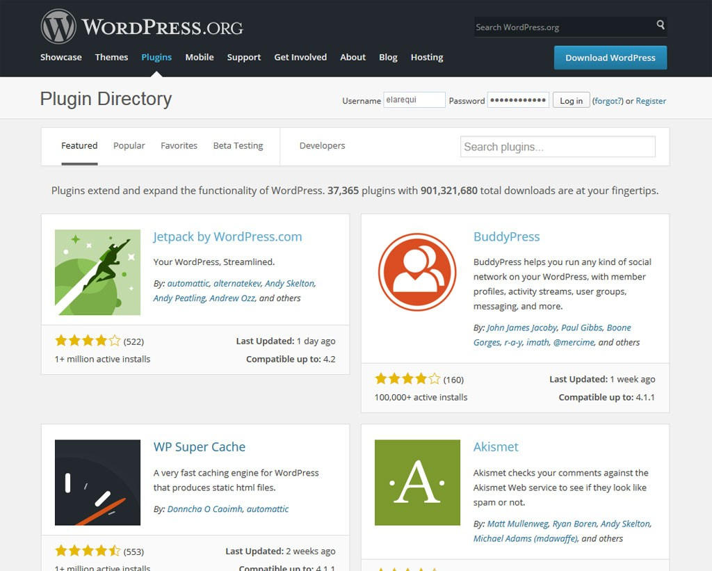 Repositorio oficial de plugins de WordPress