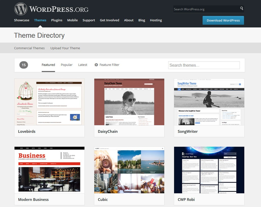 Repositorio oficial de temas de WordPress