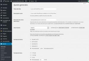 Página principal de configuración de WordPress