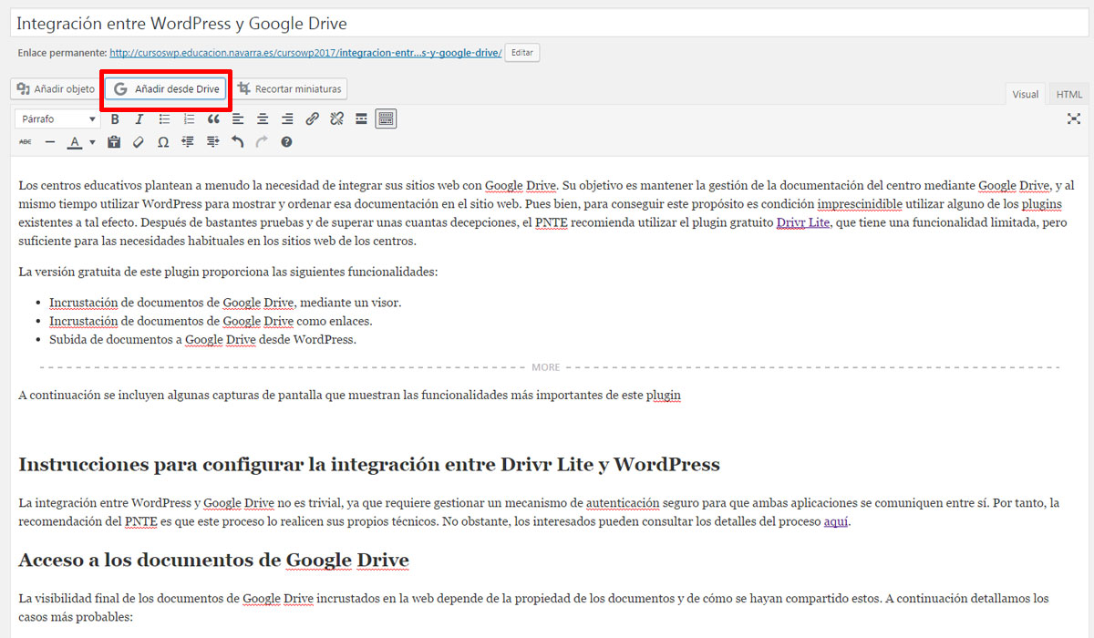 Figura 1 - Botón para insertar documentos de Google Drive