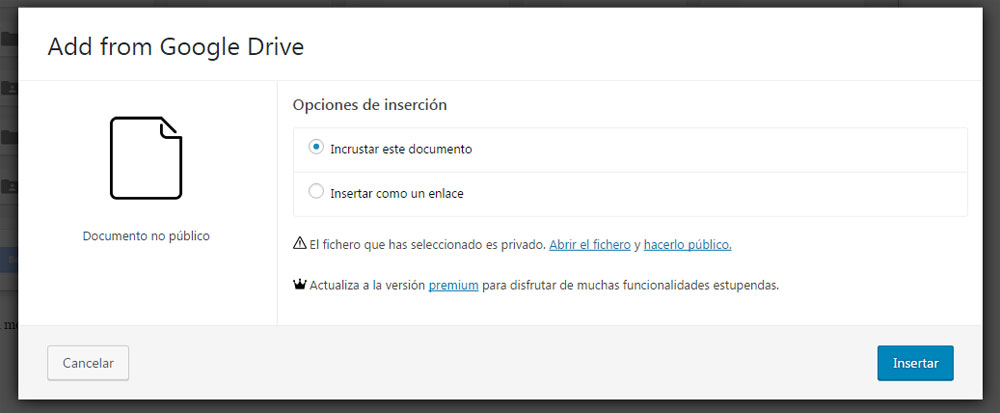 Figura 3 - Funciones del plugin Drivr Lite para insertar documentos