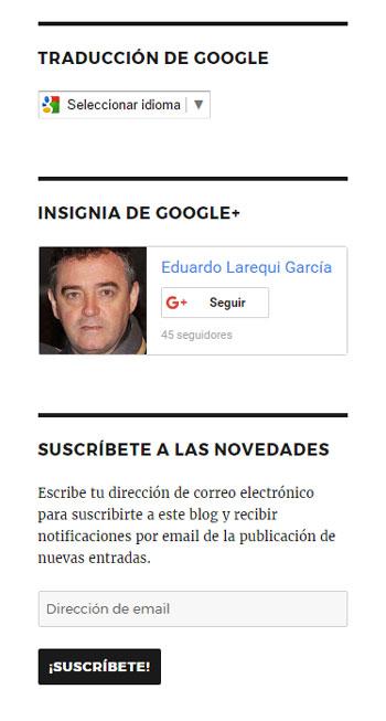 Figura 2 - Widgets de traducción de Google, insignias de Google+ y suscripción
