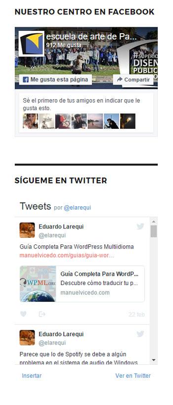 Figura 4 - Widgets de Facebook y Twitter