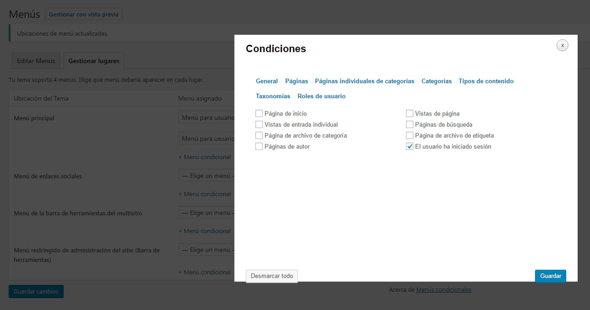 Figura 5 - Condiciones para el menú de usuarios registrados, creado mediante el plugin Conditional Menus