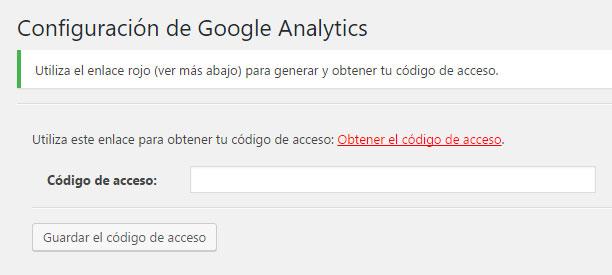 Figura 2 - Pantalla para solicitar el código de acceso de Google Analytics