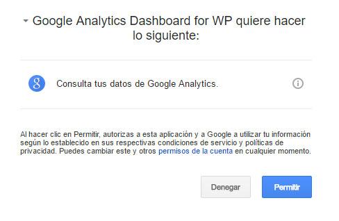 Figura 3 - Solicitud de permiso para acceder a los datos de Google Analytics