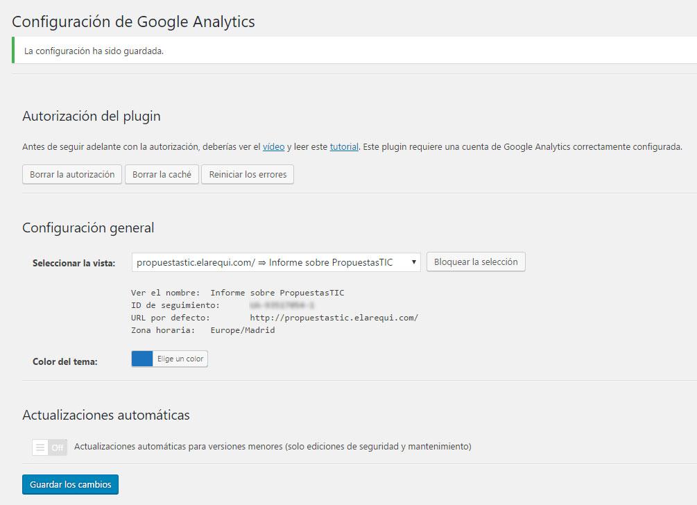 Figura 5 - Conexión con Google Analytics ya realizada