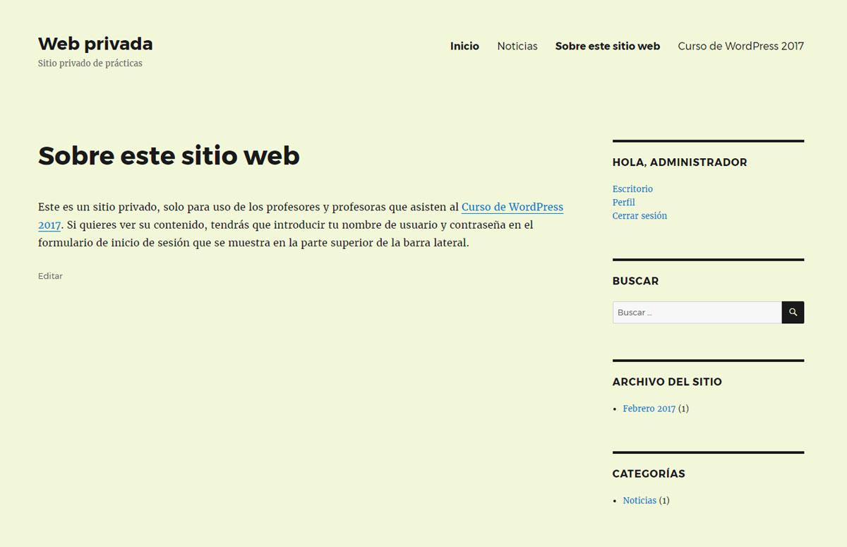 Figura 8 - Portada del sitio web privado, con todos los widgets y el menú completo