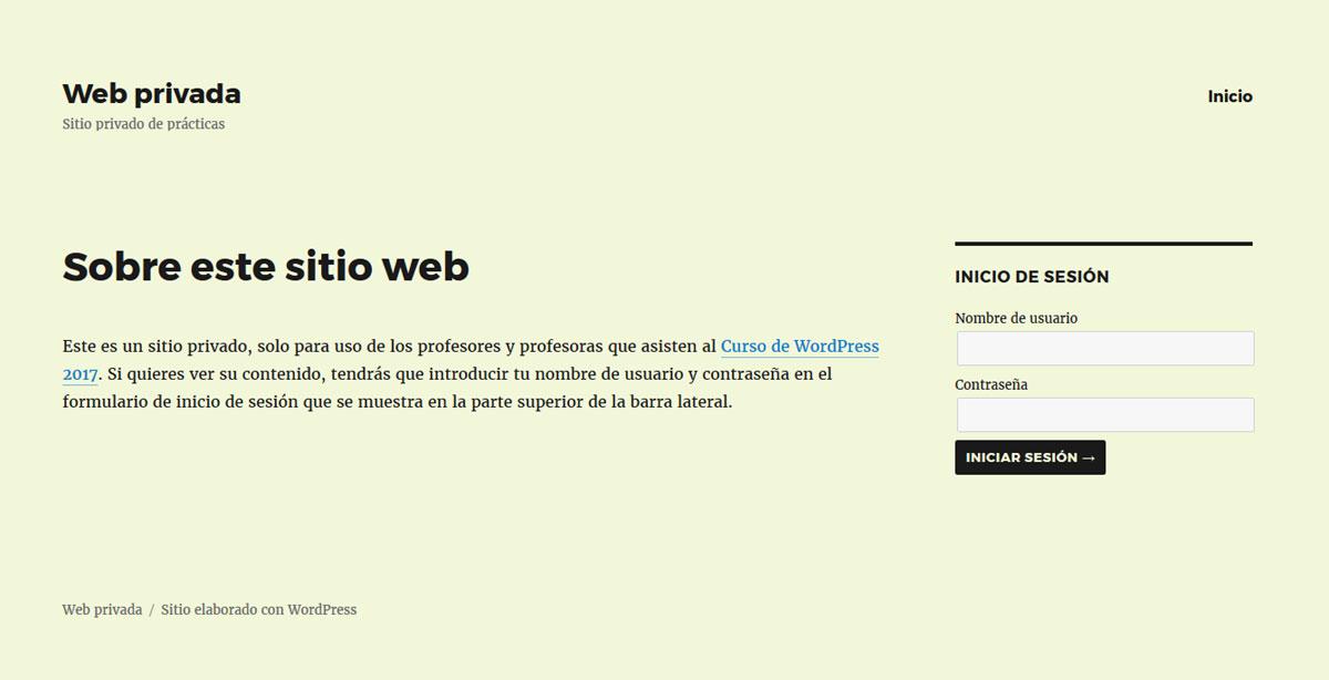 Figura 7 - Portada del sitio web privado, con un contenido mínimo