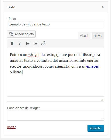 Figura 1 - Widget de texto