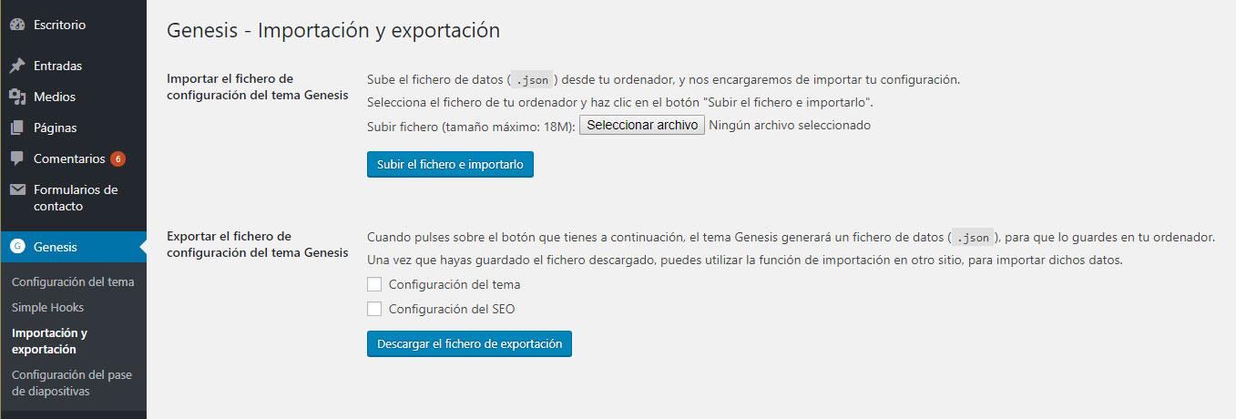 Figura 1 - Importación y exportación de los temas de la familia Genesis