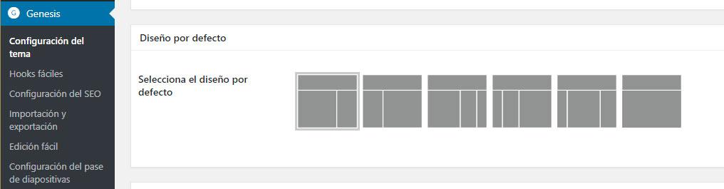 Figura 3 - Selección del diseño por defecto del sitio web en la configuración del tema Genesis