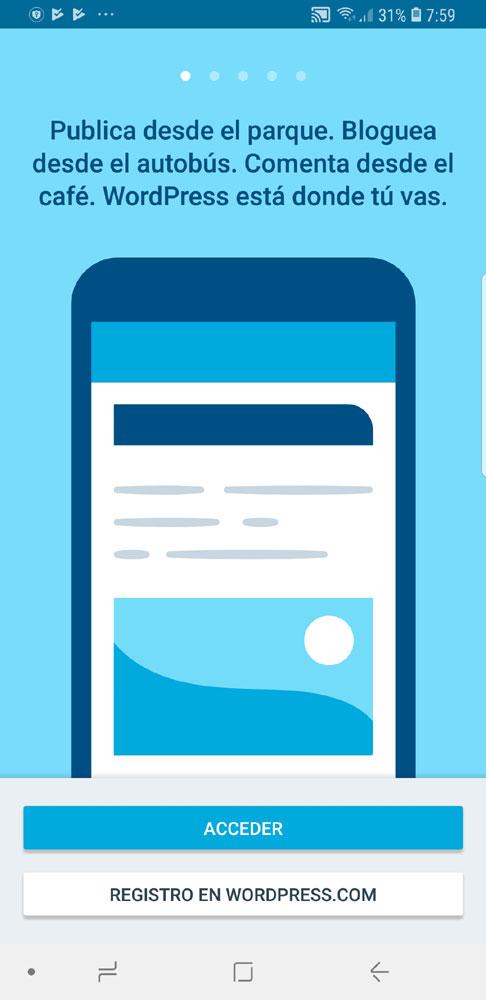 Figura 1 - Pantalla inicial del app de WordPress