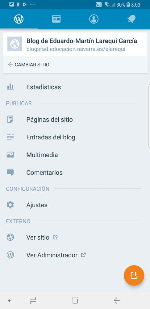 Figura 6 - Pantalla principal del app de WordPress
